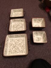 Temptations Presentable Ovenware Green Floral Lace Set Dish-Hot Pad-Metal Rack