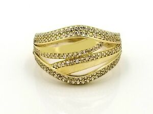 Real 10k Micro Pave Cubic Zirco-Dome Ladies Ring