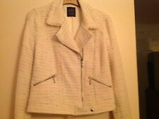 Zara cream tweed biker jacket. size L . brand new with tags