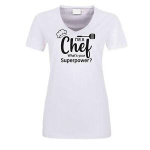 Fun Damen T-Shirt weiß Chef Superpower Grillen Koch Gourmet Essen BBQ Chefkoch