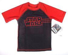 Star Wars Rash Guard Shirt Size 4 Boys Short Sleeve Black Red Sun Protection