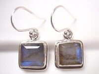 Faceted Labradorite Basic Squares 925 Sterling Silver Dangle Earrings