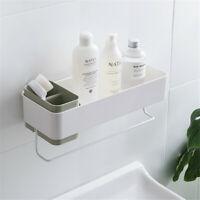 Bathroom Wall Organizer Shower Caddy Shelf Towel Rack Toothbrush Holder Green