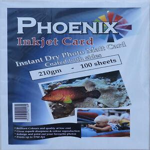 100 Sheets Phoenix A4 210gsm Double Sided Photo Matt/ Matte Card