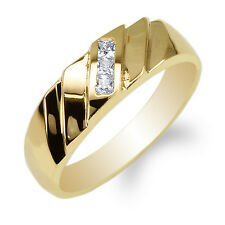 JamesJenny 10K Yellow Gold Round CZ Fancy Mens Simple Band Ring Size 7-12