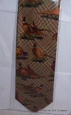 Pheasants on brown tartan background Silk Tie