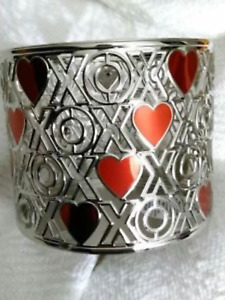 Bath & Body Works Red Hearts XOXO Silver Chrome 3 Wick Candle Sleeve