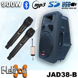 "15"" inch Speaker Bluetooth 900W Active Loud Digital Sound System PA + 2 UHF Mics"