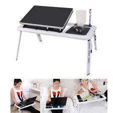 Foldable Laptop Table Tray Desk W/Cooling Fan Tablet Desk Stand Bed Sofa Co
