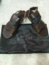 New ACNE Men's Brown Leather Sandals, Size UK 42
