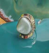 Ring Alpaca Silver Agate Green Stone Ethno Inka Maya Native American Style 12