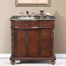 36-inch Granite Stone Top Off Center Sink Bathroom Single Vanity Cabinet 0213BB