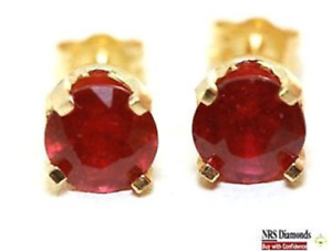 2.11ct Natural Red Ruby 14K Solid Yellow Gold Stud Earrings Diamond Alternative
