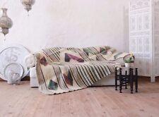 Throw Blanket 100% Wool Geometric Purple Green Hand Woven Plaid Sofa / Bed Throw