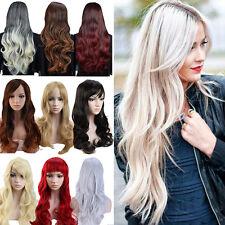 Wie Echthaar! Neu Damen Lang Ombre Perücken Mode Gewellt Perücke Cosplay Wig #XY