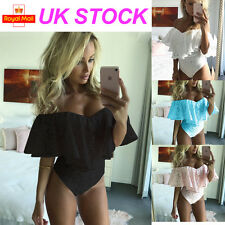Womens Ladies Bardot Frill Off Shoulder Lace Bodysuit Stretch Party Leotard Top