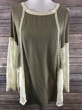 Umgee Women's Taupe Brown Open Shoulder Lace Sleeves Festival Blouse Size Large