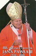 RARE / CARTE TELEPHONIQUE - PAPE JEAN PAUL 2 II - EGLISE CATHOLIQUE / PHONECARD