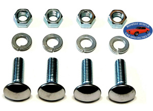 "Ford 3/8-16x1-1/4"" Stainless Capped Round Head Front Rear Bumper Bolts Nuts 4p J"