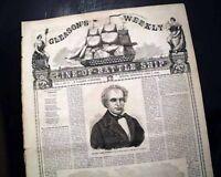 Rare BATTLESHIP Gleason's Pictorial Ornate Masthead PRINTS 1859 Old Newspaper