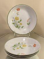 Set Of 4 Vintage Castle Court Fine China April Flowers Japan 7 1/2 soup/ Salad