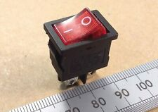 DPST Illuminated Mains Rocker Power Switch 6A 250 VAC with Red Neon