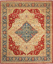 8X10 Hand-Knotted Farhan Carpet Traditional Red Fine Wool Area Rug D41107
