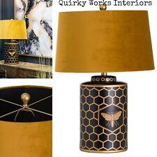 Harlow Bee Table Lamp Black Gold Ginger Jar Base Mustard Velvet Shade Quirky