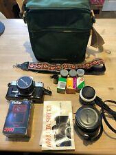 Vintage Minolta SLR Camera, 35mm, 50mm Lens & Case,Flash, Film,Bag Manuals