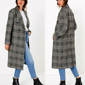 M&S Wool Blend DOUBLE BREASTED Checked OVERCOAT ~ Size 10 ~ BLACK Mix