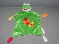 BAMBIA FROG SECURITY BLANKET LOVEY SOFT CUDDLE BUDDY FRIEND FLOWERS KNOT TOY