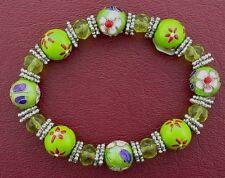 Stretch Bracelets Ms4 Beautiful Green Murano Style