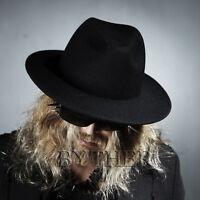 ByTheR Men's Black Fashion High Quality Soft Wool Felt Chic Look Fedora Hat N