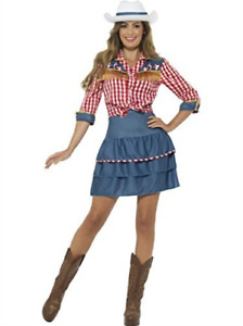 Rodeo Doll Costume, Blue, with Skirt, Shirt & Hat -  (Size: UK Dres.. COST-W NEW