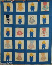 Cheery Vintage 30s Sunbonnet Sue & Overall Sam Applique Antique Quilt ~Nice Blue