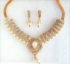 Indian Bollywood Gold Plated White Pearl Ethnic Jewelry Necklace Earring Set