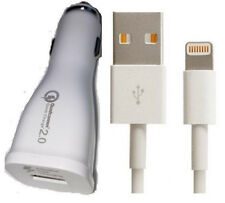 1m Lightning To USB Cable + Certified Fast In Car Charger Fit For iPhone 7 8 8 X