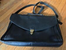 Coach Unisex Black Leather Briefcase Laptop Messenger Vintage Shoulder Bag 5206