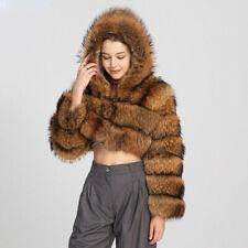 Women's Short Winter Warm Fur Coat Hooded Jacket Thick Luxury Outerwear 57894B