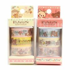 2 SET San-x Rilakkuma Bear / washi tape / masking tape / 6 rolls total! / 3 box