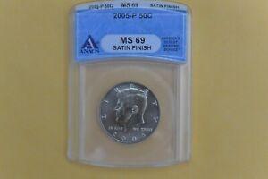 2005-P Kennedy Half Dollar ANACS MS69 SATIN FINISH