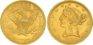 USA 5 Dollar 1893 Gold Liberty Head vz-st    58761