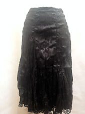 Rave XS Skirt Black Crinkle Shiny Lace Trim Goth Steampunk