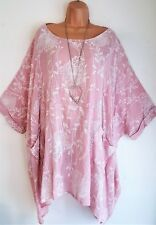 New Ladies Lagenlook Pink floral Cotton Mix Tunic Loose Top size 26 28 30 32