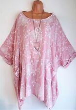 Nouveau Femme LAGENLOOK Rose Floral Mélange Coton Tunique Ample Femme Taille 26 28 30 32