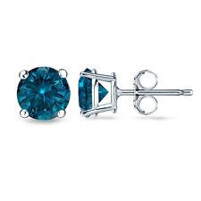 0.12CT Blue SI1-SI2 Enhanced Diamond 18K White Gold Men's Single Stud Earring