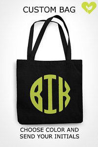 Personalized Reusable Grocery Bag Custom Gift Initials Monogrammed Canvas Bag