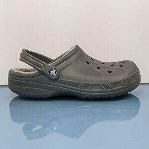 CROCS Gray Faux Fur Lined Classic Clogs Unisex Adult Size 11 Womens 9 Mens Shoes