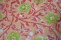 3 Yard Indian Hand Block Print Pure Cotton Fabric Sanganeri Running Fabric yard1