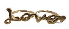 Vintage Bronze Romantic Letter Love Heart Costume Jewellery Double Finger Ring